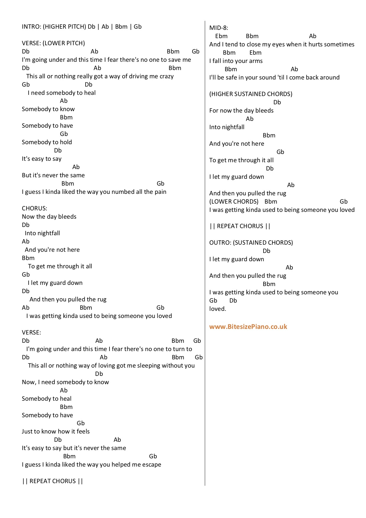Someone You Loved Lewis Capaldi Piano Chords Lyrics Bitesize Piano