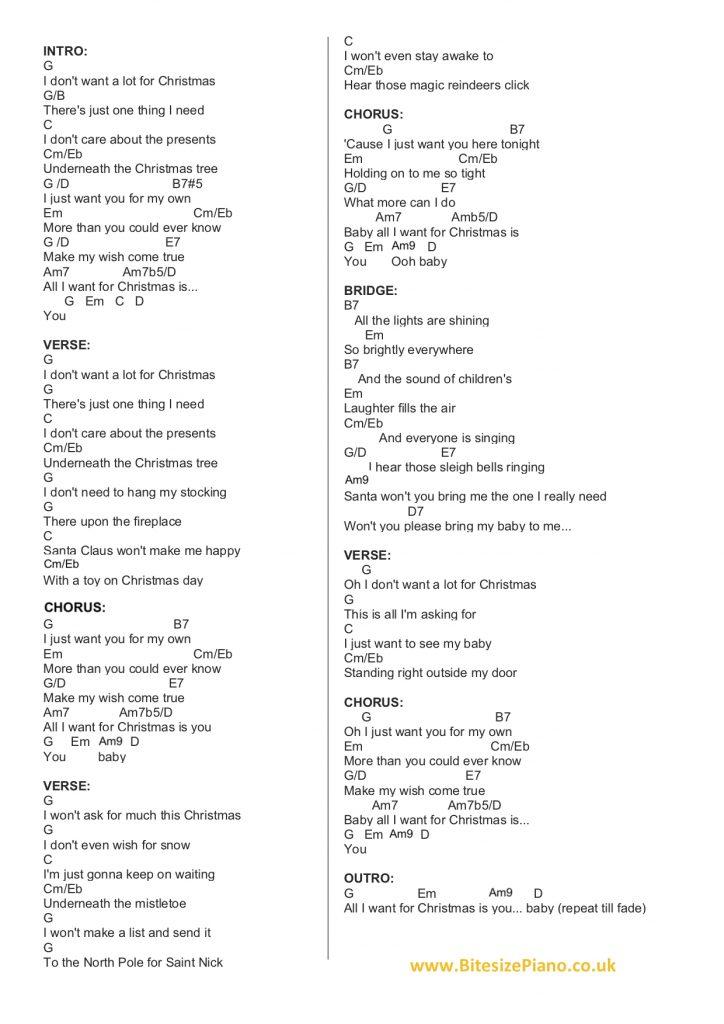 all i want for christmas lyrics