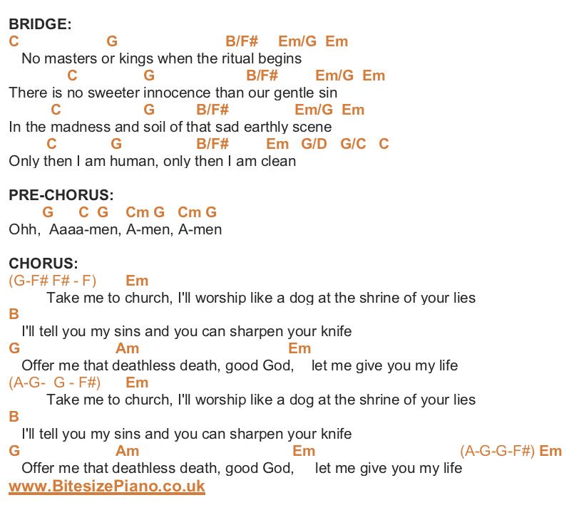 Take Me To Church Hozier Piano Chords Lyrics Bitesize Piano